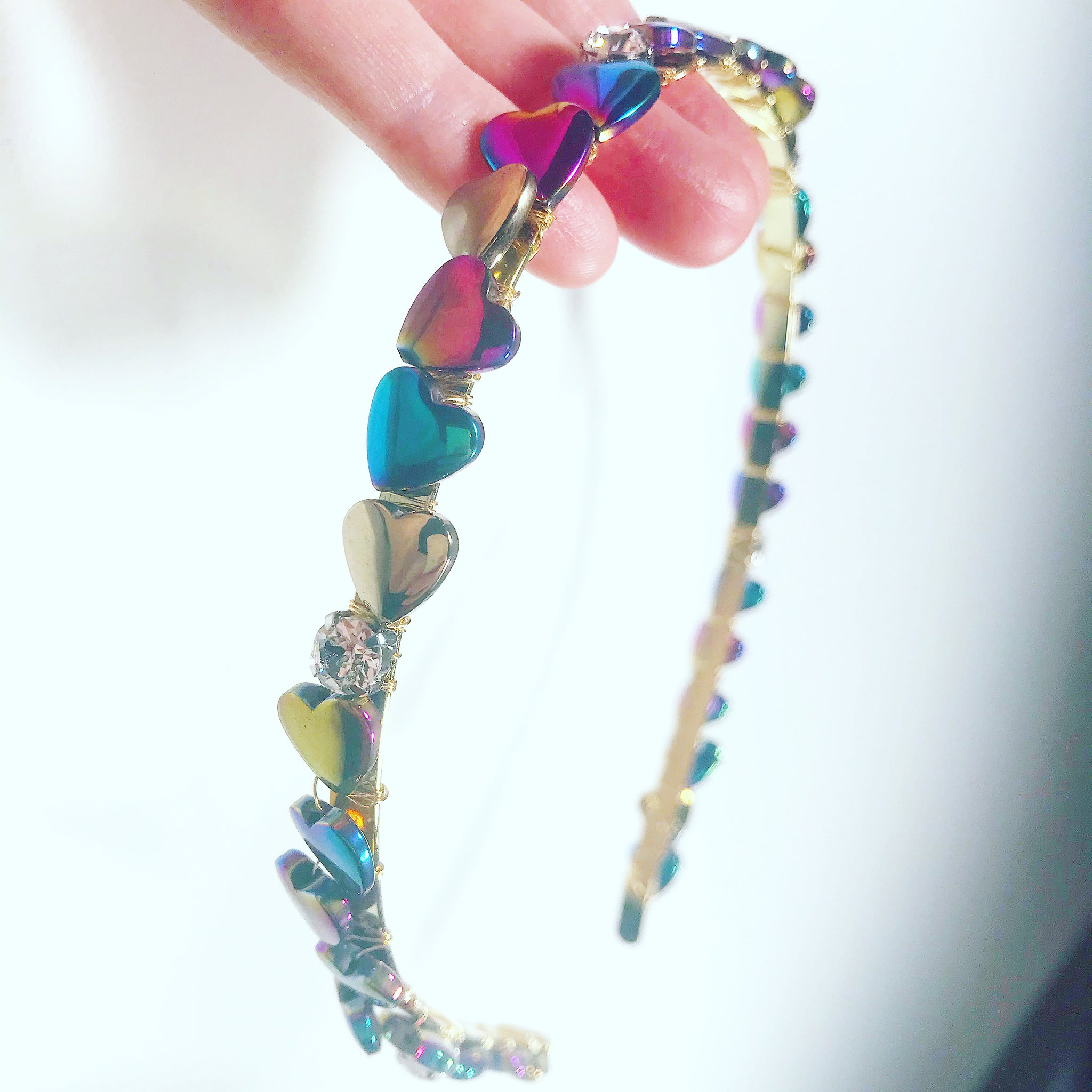 Rainbow Heart Crystal Crown