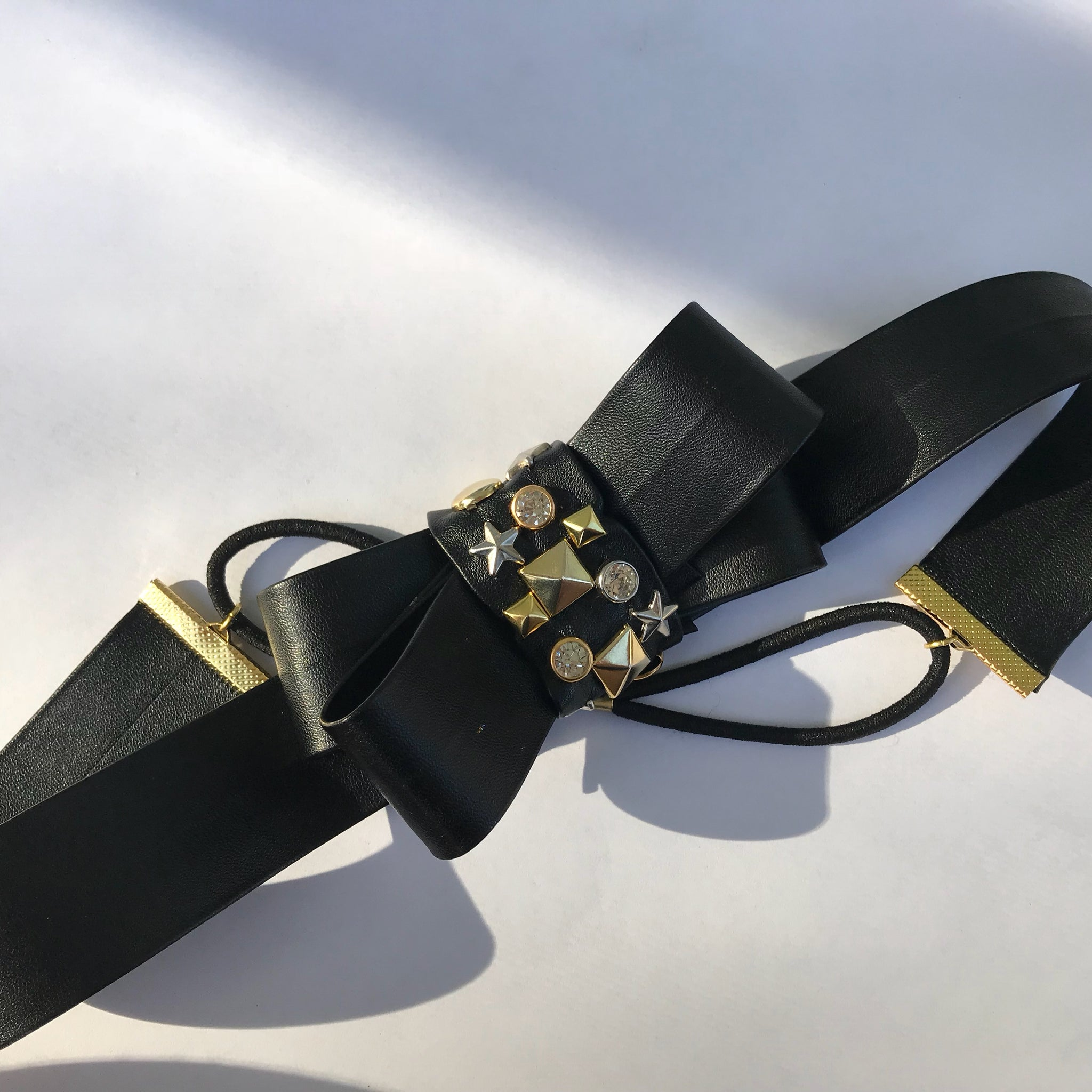 Faux Leather Studded Bow Headband