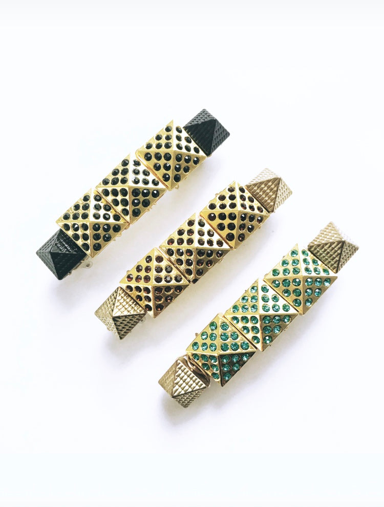 Triple Crystal Pyramid Barrette