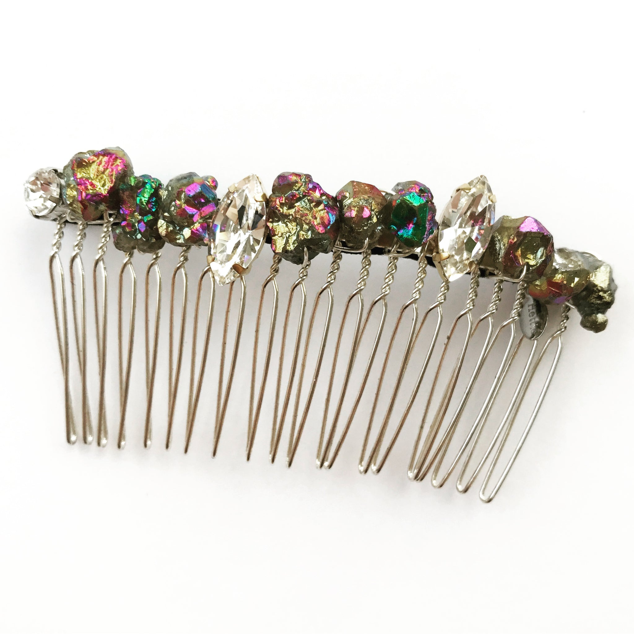 Rainbow Pyrite Crystal Comb