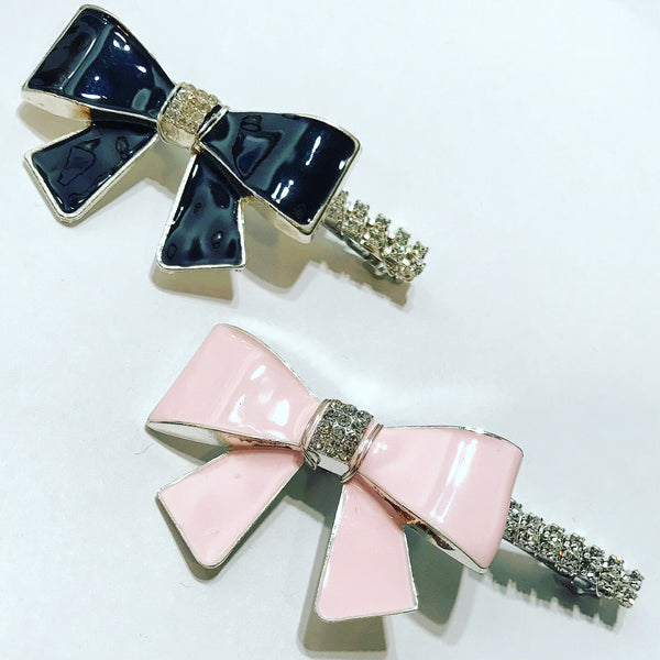 Enamel Bow Crystal Barrette
