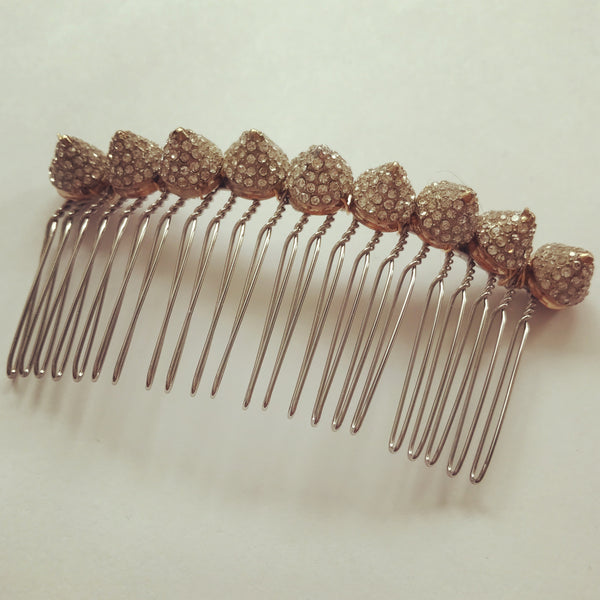 Rose Gold Crystal Spikes Hair Comb