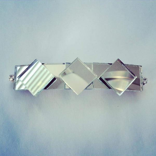 Crystal Diamond Trio Mirror Barrette