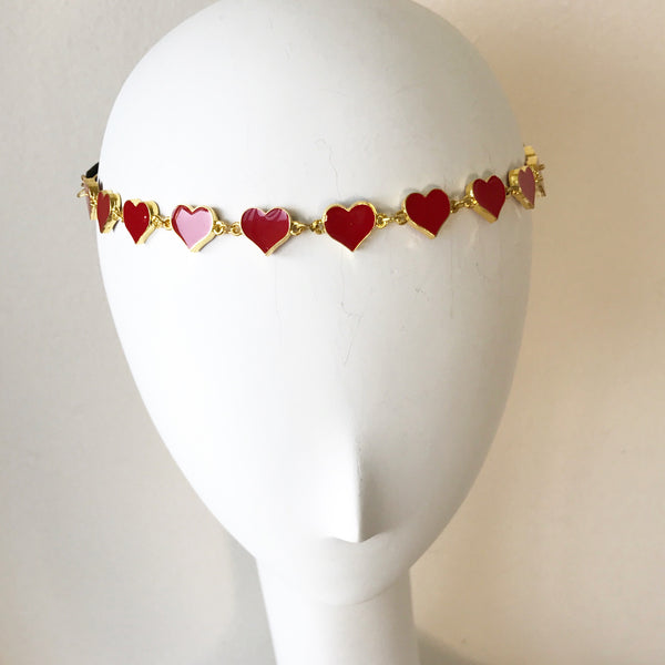 Red Enamel Heart Headpiece