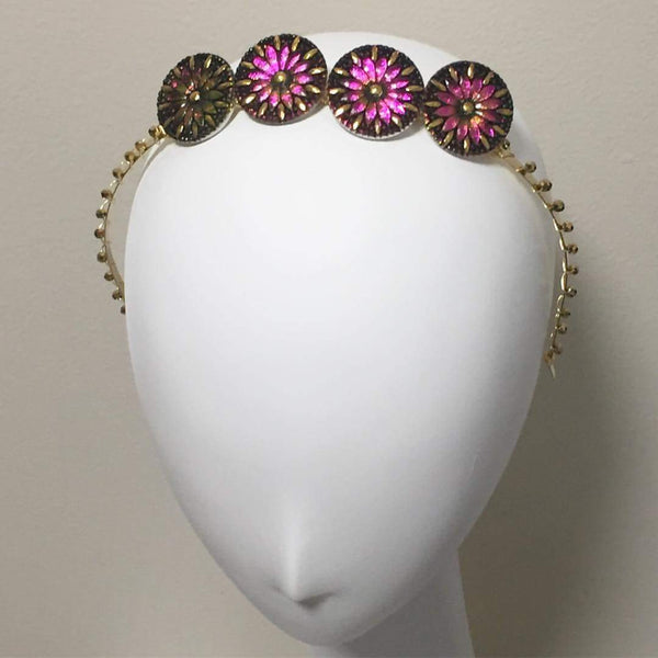 Fuchsia Starburst Crystal Crown