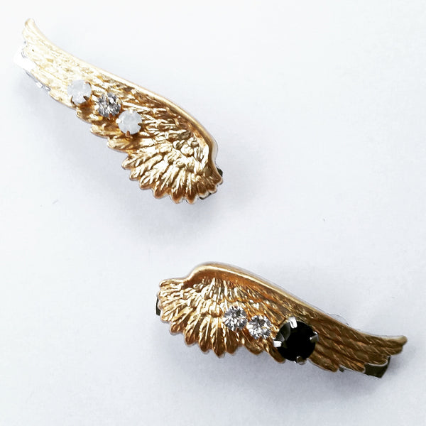 Gold Crystal Wings Barrette