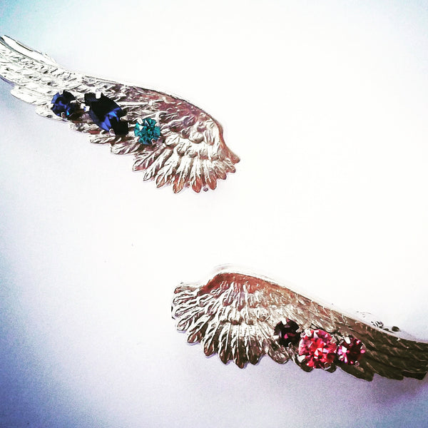 Silver Crystal Wings Barrette