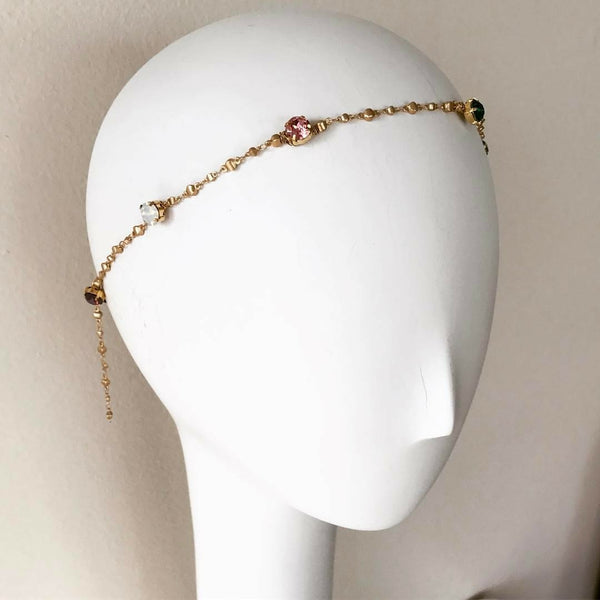 Multi-Color Crystal Chain Headpiece