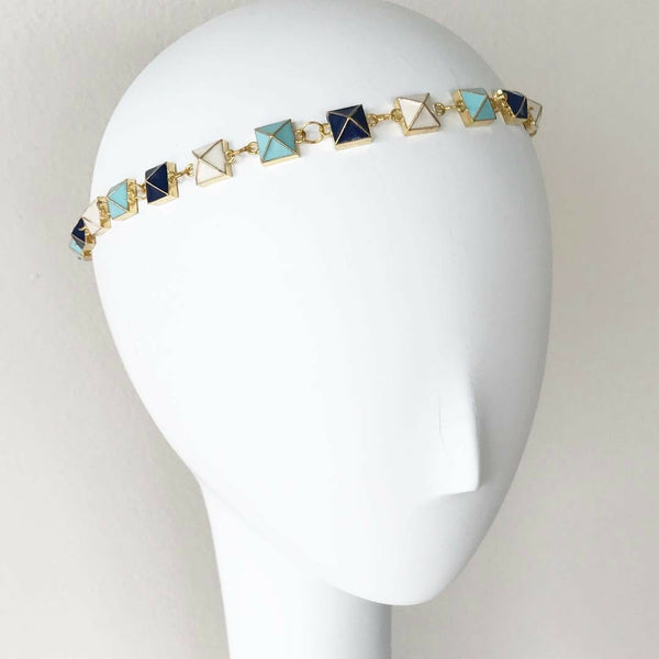 Turquoise & Navy Pyramid Headpiece