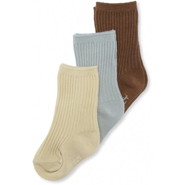Konges Slojd 3 Pack Rib Socks Breen/Mint/Sahara Sun