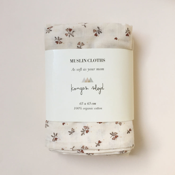 Konges Sløjd Muslin Cloths Petit Amour Rose 3 pack 100% organic cotton