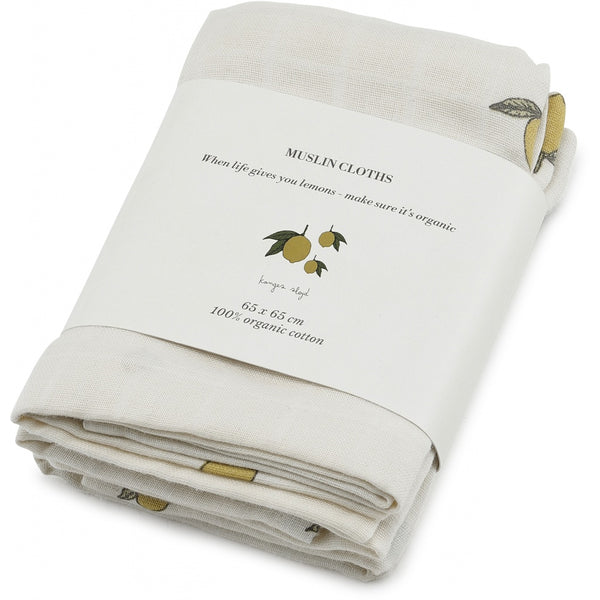 Konges Sløjd Muslin Cloths Lemon 3 pack 100% organic cotton