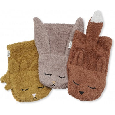 Pre order (ships next week) Konges Sløjd 3 Pack Wash Cloths Animal Girl