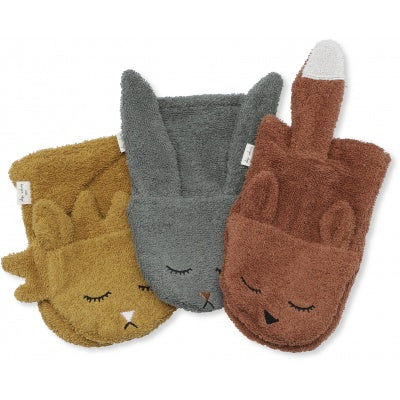 Pre order (ships next week) Konges Sløjd 3 Pack Wash Cloths Animal Boy