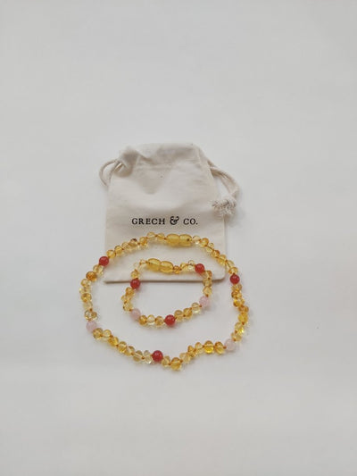 Grech & Co. Baltic Amber Children's Necklace - Goddess Light