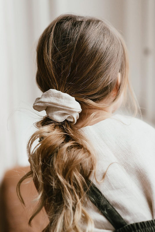 Atelier des femmes Off white medium scrunchie Fleuri