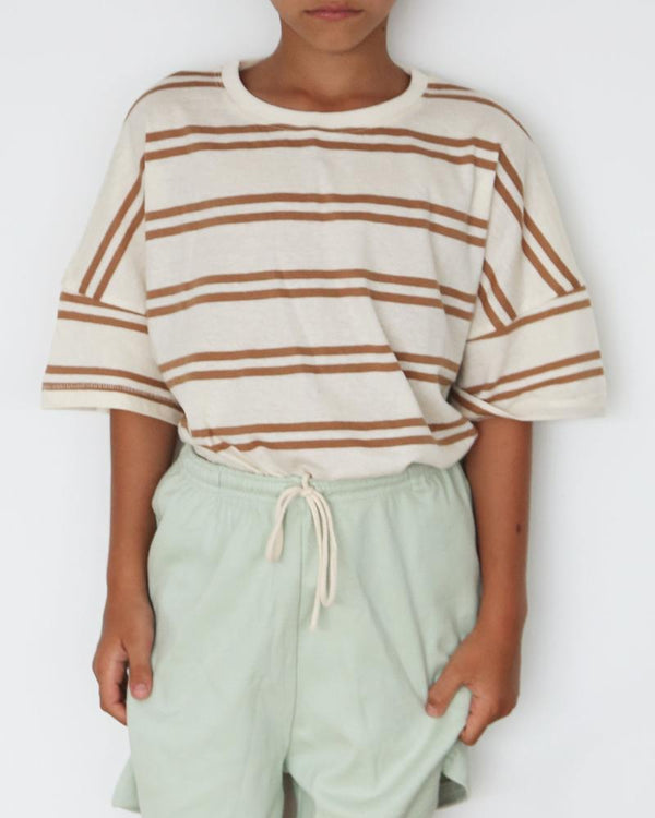 Summer and Storm Oversized Tee Tan Stripe