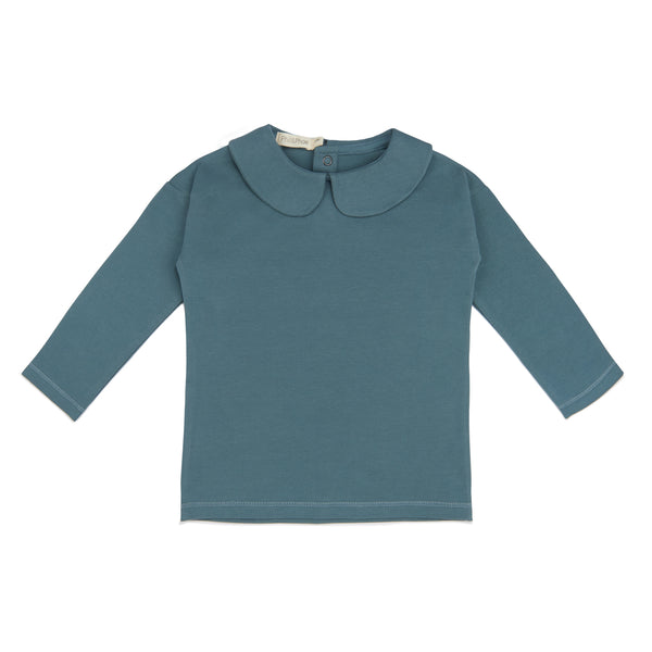 Phil and Phae Collar tee l/s - Balsam blue