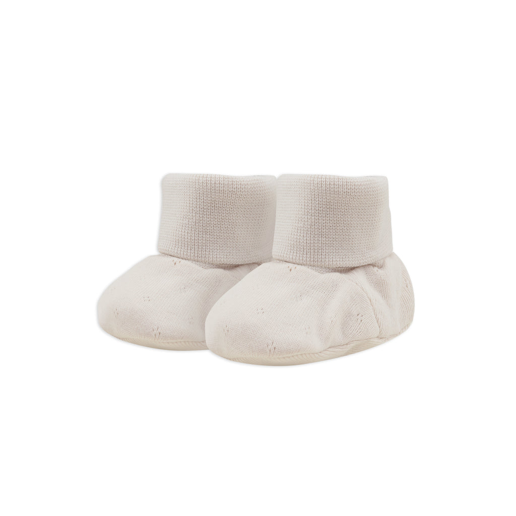 Phil and Phae Baby booties pointelle Oatmeal