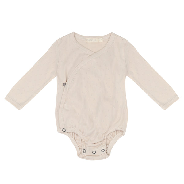 Phil and Phae  Cross-over body l/s pointelle oatmeal