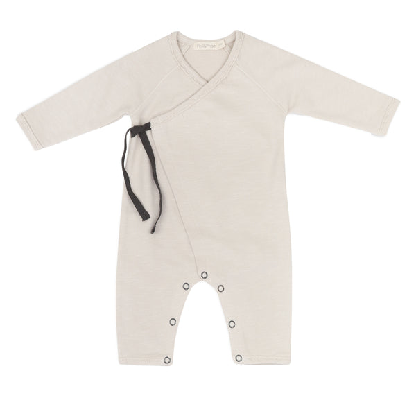 Phil and Phae Cross-over newborn suit Oatmeal