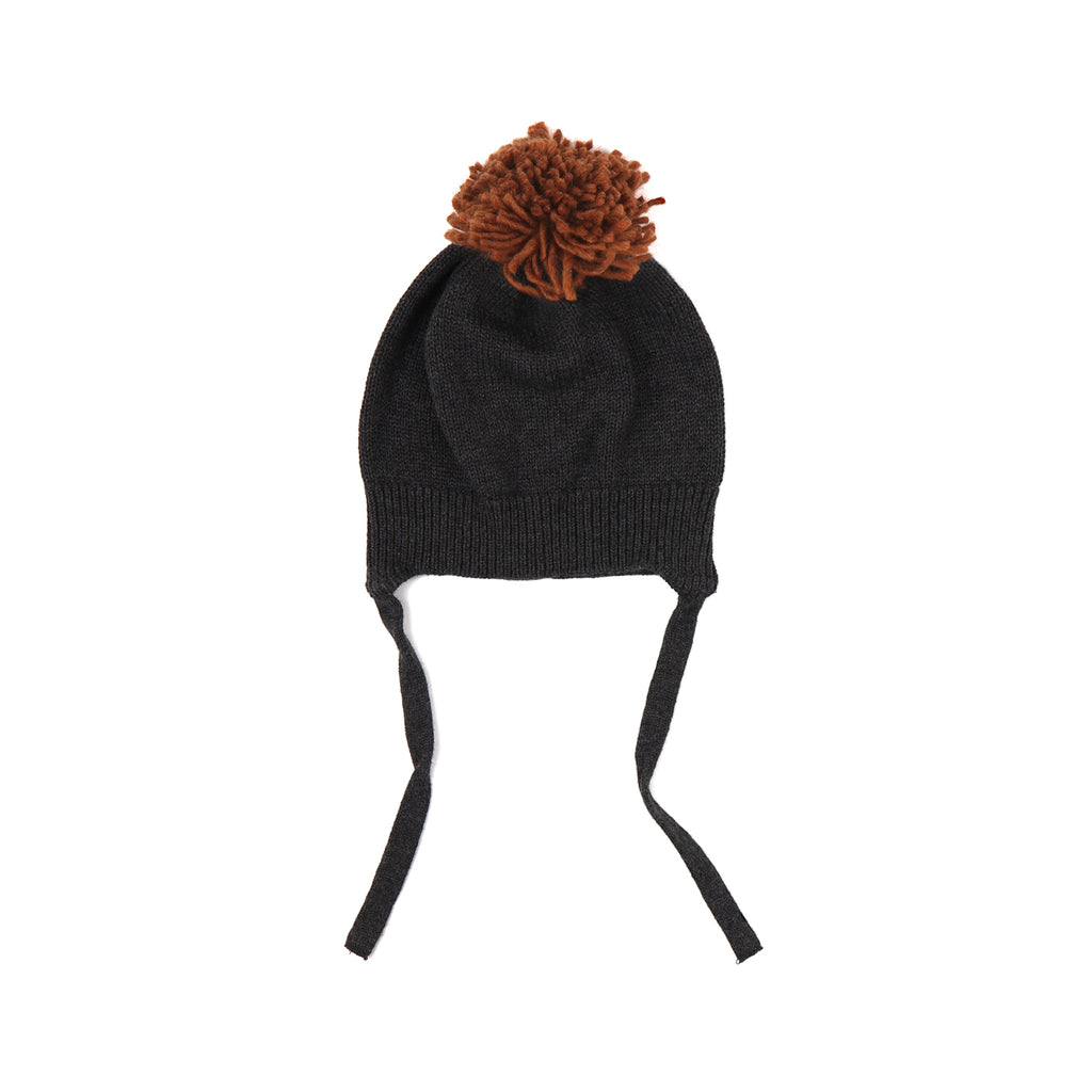 Phil and Phae Pompon baby hat Charcoal Melee