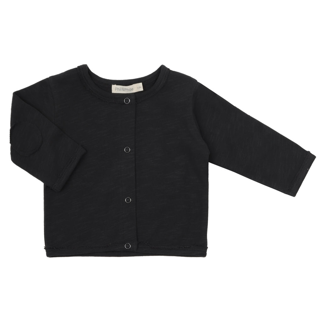 Phil and Phae Raw-edged baby cardigan Charcoal