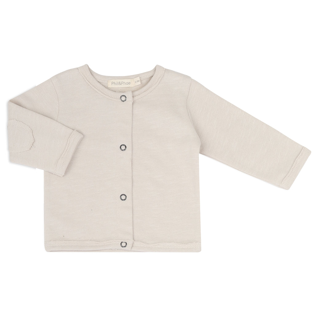 Phil and Phae Raw-edged baby cardigan Oatmeal