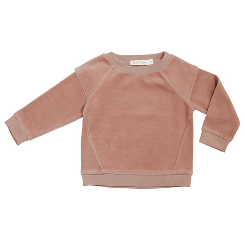 Phil & Phae Epaulette sweater velvet Dusty Rose