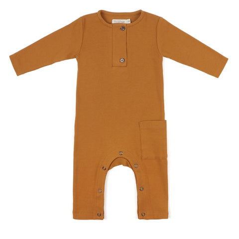 Phil and Phae Henley jumpsuit rib l/s Gold Ochre - Last one 3-6M