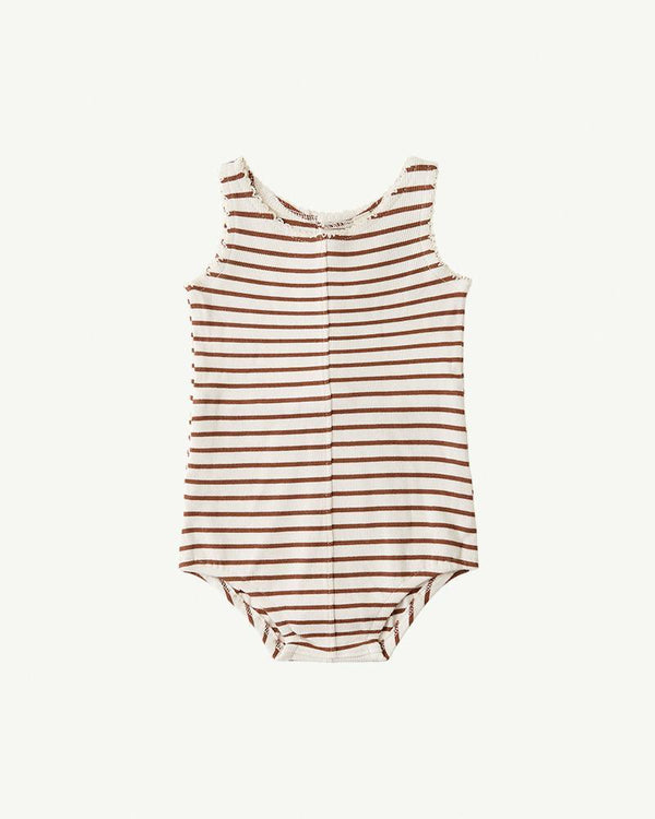 Summer and Storm Button Onesie Rust Stripe