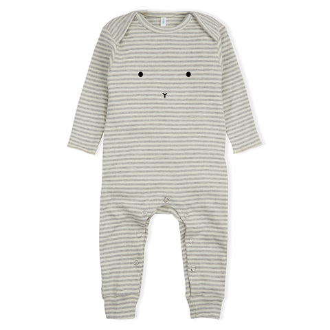Organic Zoo Stripes Bunny Playsuit - Last one 3-6M