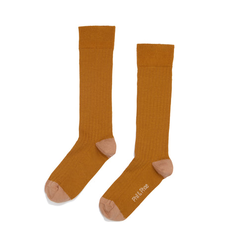 Phil and Phae Ribbed Knee Socks Gold