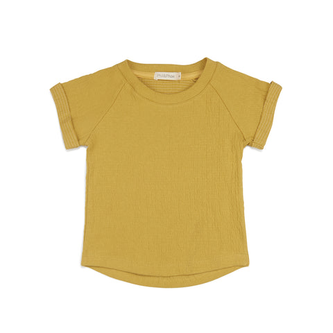 Phil and Phae Textured Raglan Top Dusty Yellow