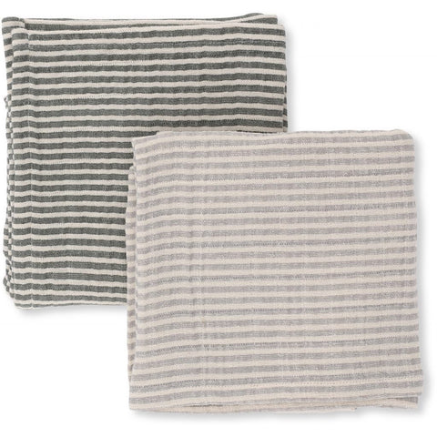 Konges Sløjd Muslin Cloths Striped Boy 2 pack 100% organic cotton