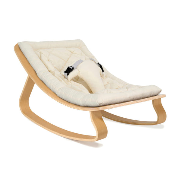 Charlie Crane Levo Rocker Beech with Organic White cushion
