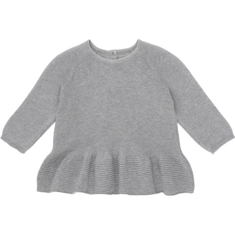Konges Slojd  Fortin Frill Cotton Blouse Sweater Grey - Last one 56/62