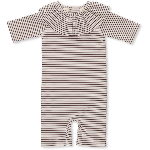 Konges Slojd Soleil UV Suit Girls Striped Bordeaux / Nature