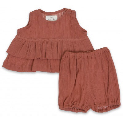 Konges Slojd High Twist Girl Tee + Bloomer Cedar Wood