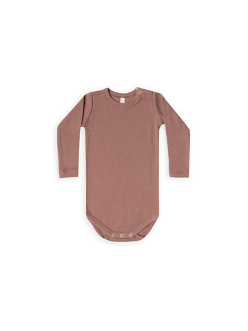 Quincy Mae Ribbed LS Onesie Clay