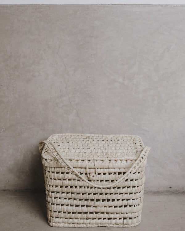 The Souks Handwoven Palm Leaf Basket L