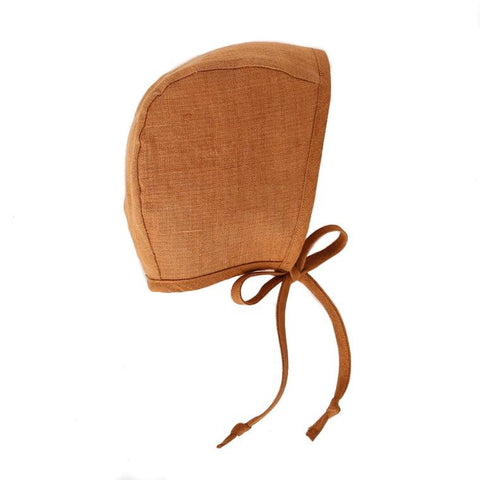 Briar Winter Bonnet Sherpa Lined Rust Linen