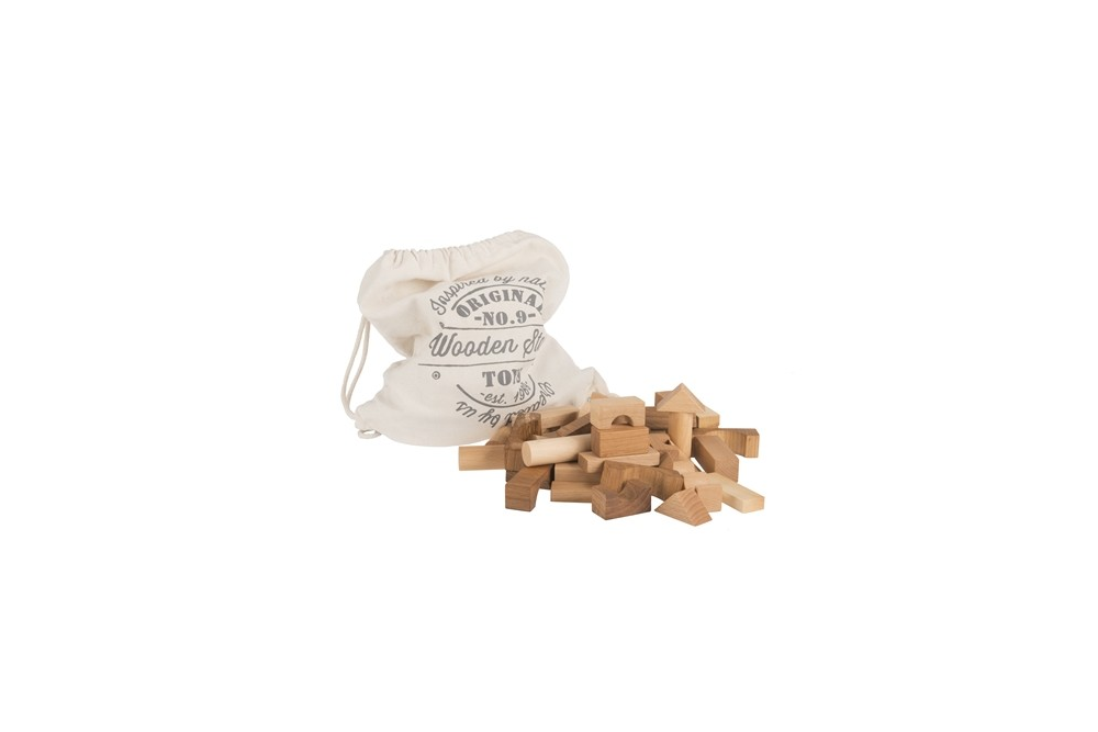 Wooden Story Natural Blocks in Sack 100 pcs