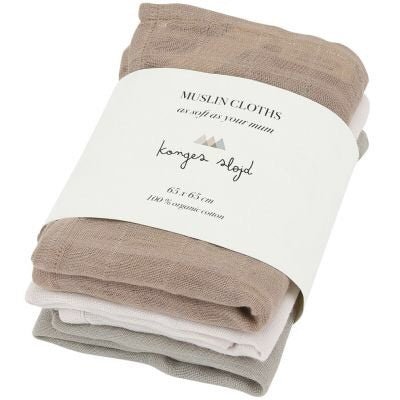 Konges Sløjd Muslin Cloths Limestone 3 pack 100% organic cotton