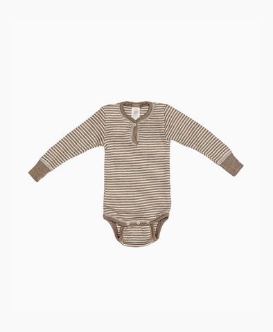 Engel Wool/ Silk Baby Body with snaps Walnut/Natural