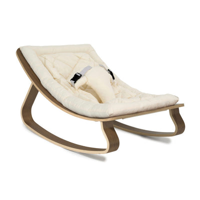 Charlie Crane Levo Rocker Walnut with Organic White cushion