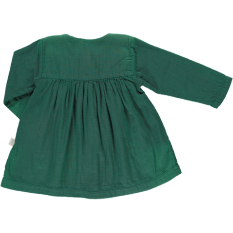 Poudre Organic Dress Aubepine Bistro Green - Last one 18M