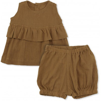 Konges Slojd High Twist Girl Tee + Bloomer Dark Honey