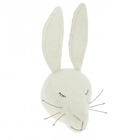 Fiona Walker Animal Head Sleepy White Rabbit