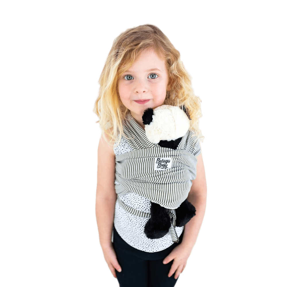 Children's Doll Carrier Olive & Ivory Stripe - Amsterdam - Beluga Baby - Made in North America